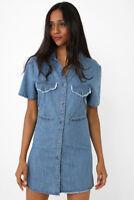 Size 8 10 12 14 NEW Womens Denim Shirt Dress Ladies Jean Dresses Blue Distressed
