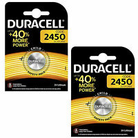 2 x Duracell CR2450 3V Lithium Coin Cell Battery 2450 DL2450 Longest Expiry
