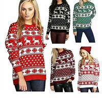 Ladies Xmas Reindeer Snowflake Long Sleeves Women Christmas Jumper Sweater Top