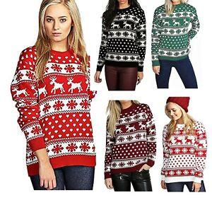 Ladies Xmas Reindeer Snowflake Long Sleeves Women Christmas Jumper Sweater Top