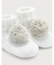 THE LITTLE WHITE COMPANY Knitted Pom-Pom Booties Baby Gift Boys Girls Winter