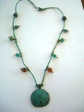 Necklace /Green Bead ON cord Eco African Aztec Tribal Boho Festival Hippy