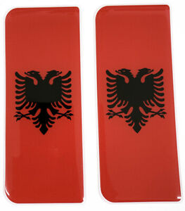 2x Albania Gel Domed Number Plate Badges 110x45mm