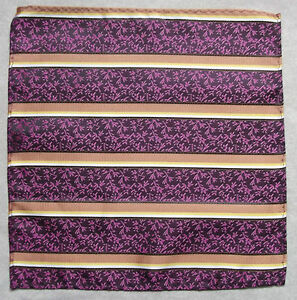 Hankie Pocket Square Handkerchief MENS Hanky PURPLE GOLD STRIPED