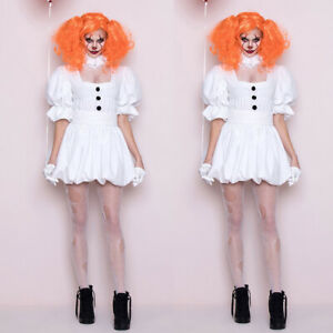 Halloween Ladies Womens Pennywise Costume Cosplay Scary Clown  Dress w/ Wig