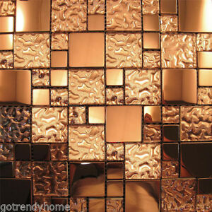 Copper Metal Pattern Textured Glass Mosaic Tile Kitchen Backsplash Wall