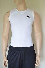 Nouveau adidas techfit court sans manches sl couche de base compression shirt blanc tee m