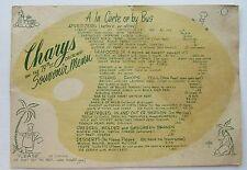 Restaurant Menu Souvenir Mailer For Chary's 79th Causeway Miami Beach  Fla c50's