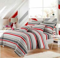 Luxury Print Stripe Duvet Set Bedding Cover Quilt Single Double King Sizes