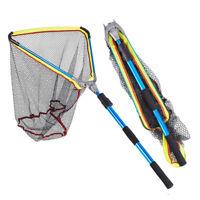 Aluminum Alloy Handle Large Foldable Telescopic Fishing Tackle Landing Net  Soft