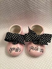 Burton & Burton Precious Blessing Pink Booties Ceramic You Are Precious Adorable