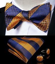 USA Mens Silk Blue Gold Self Bow Tie Set Striped Necktie Bowtie Hanky Cufflinks