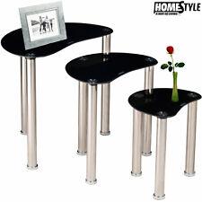 Set 3 Tavolini Tondi Vetro Temperato e Acciaio 53 x 33 x 48 cm Homestyle Nero
