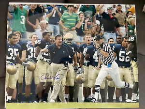 Notre Dame Football Charlie Weis Signed Autographed 16x20 Photo Picture Jersey