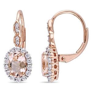 Amour 14k Rose Gold Morganite White Topaz Diamond Halo Leverback Dangle Earrings