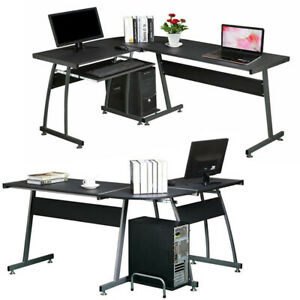 Wooden Black L-Shaped Corner Computer Desk Executive PC Table Home Office Study