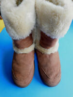 Style & Co Witty Faux Fur Lined Tan Suede Winter Boots Mid Calf 10M EUC