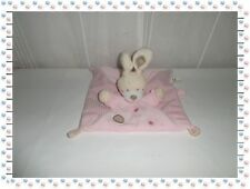 ♠ - Doudou Semi Plat Carré Rose Beige Attache Sucette Ronds Brodés Nicotoy