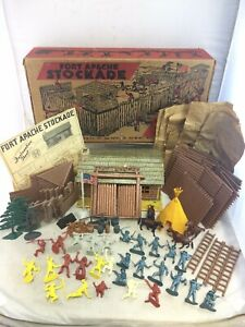 Vintage 1950's Marx Fort Apache Stockade With Bags Box Instructions