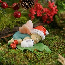 Miniature Dollhouse Fairy Garden Christmas Fairy Baby Sleeping with Bunny