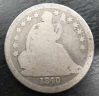 1840 SEATED LIBERTY DIME AG About Good (Good obverse)