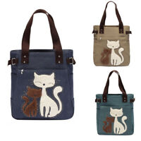 Women handbag canvas bag with cute cat fashion ladies small bags NEW
