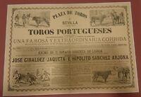 ANTIGUO CARTEL PLAZA DE TOROS DE SEVILLA 1879 CON PASPARTU  49x38 Centimetros