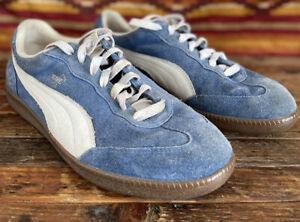 VTG Retro Puma Liga Blue Suede Gum Soles Sneakers Soccer Shoes 10 Men EU 43