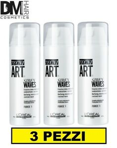 3 PEZZI NEW L'OREAL TECNI ART HOLLYWOOD WAVES siren waves 150ml CREMA PER RICCI