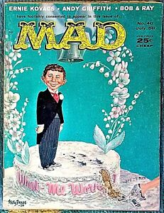MAD Magazine #40 July 1958! FINE! 6.0 .99 Start! SHARP! VERY RARE DOUBLE COVER!