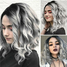 1 x Short Wavy Bobo Human Hair Rose net Wig Glueless Front Wigs Gray Women