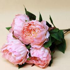 Pink Artificial Peony Silk Flowers Bouquet Wedding Flower Arrangement Decor