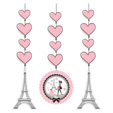 Party in Paris Birthday 3 Hanging Cut Outs Swirls Eiffel Tower
