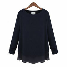 Women's Size Regular Cotton Blend Casual Long Sleeve Tops & Blouses