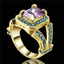 Size 8 Purple Amethyst &blue Crystal Wedding Ring Yellow Rhodium Plated Jewelry