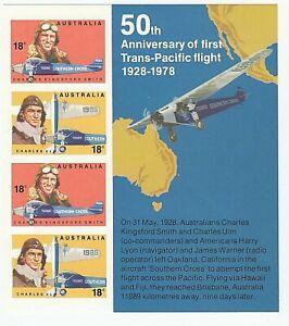 1978 'AUSTRALIAN AVIATORS' IMPERFORATE MNH MINI SHEET of 4 x 18c STAMPS