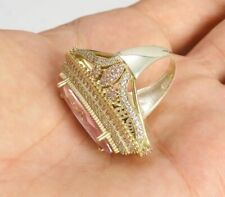 925 SILVER  TURKISH JEWELRY MARQUISE CUT PINK TOPAZ LADY RING