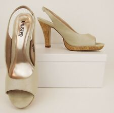 NWOB Unlisted Beige Tan Nude Satin + Cork Platform Heels Pumps Shoes 10M (S419)