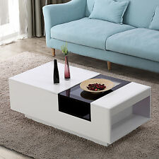 High Gloss White Coffee Table Black Glass Center Cabinet with Side Storage