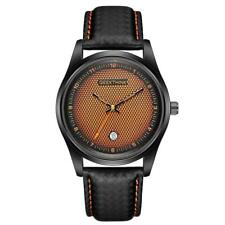Creative Unique Men Wrist Watch Luxury Quartz Date Leather/Steel Band IPB Coated