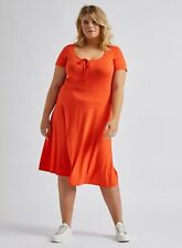 Dorothy Perkins Womens Curve Orange Scoop Neck Midi Dress Jersey Short Sleeve