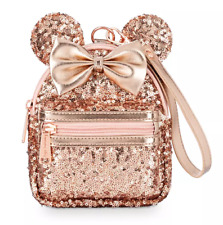 Loungefly Disney Parks Minnie Mouse Sequin Backpack Wristlet Briar Rose Gold