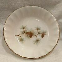 MINT SET OF 4 PINE CONES China Berry Fruit DESSERT GOLD SCALLOPED RIMMED BOWLS