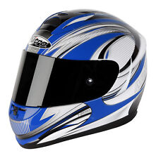 Nitro N1730 Full Face 5 Star Motorcycle Helmet Fibreglass Blue/Gun Silver XL