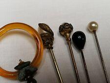 """5 Vintage Hat Pins Hatpins Antique Lucite Pearls + 4"""" - 61/2 """" LONG 1930s Era"""