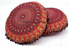 2 PC Indian Peacock Round Floor Pillow Cushion Cover Mandala Ottoman Bohemian