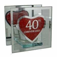 Julianna Anniversary Single Glass Red Heart Tealight Holder 40th Anniversary