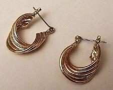 superbes boucles d'oreilles percées anneaux bijou vintage couleur or *4583