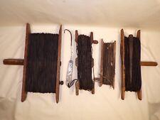 4 Antique Wooden Fishing Hand Line / Reel 1 w/ Hook Lure / Decoy Alaska Inuit ?