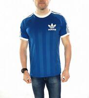 Men's Adidas Originals 3 Stripe Retro T Shirt In Blue Size Medium
